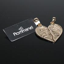 Pingente Coração Casal (carametade) Folheado A Ouro Rommanel