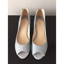 Sapato Tipo Peep Toe, Arezzo, De Salto Baixo, Azul Claro, Co