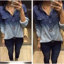 Camisa Jeans Feminina Degrade E De Coração+calcinha D Brinde