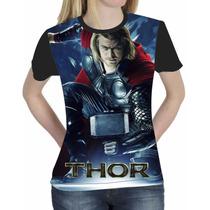 Camiseta Blusa Marvel Os Vingadores Feminina Mod 06 A 10