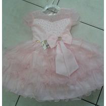 Vestido Infantil Festa Luxo Princesa Rosa