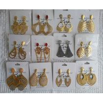 Atacado Revenda Kit 10 Brincos Semi-jóias Folheados De Ouro