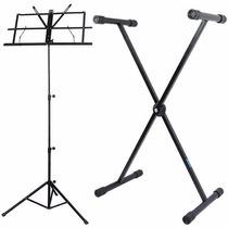 Pedestal Suporte P/ Teclado Musical + Estante Partitura