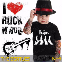 Camiseta The Beatles Infantil Preta Rock Roll Clássicos