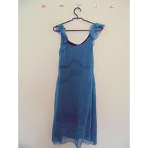 Vestido Azul Forrado Mangas Romanticas Cód. 150 A 151
