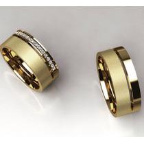 Par De Alianças Ouro 18k Zirconias Anat 7m Casamento Banhada