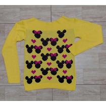 Blusa De Tricot Feminina Desenho Minnie Mickey Várias Cores