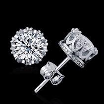 Brincos Masculinos Diamante Em Prata 925 E Zircônia 8mm Par