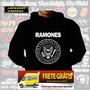 Blusa Moletom Ramones Capuz Bolso Banda Rock Camiseta Frio
