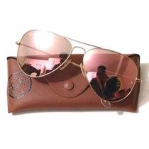 Óculos R Ayb An ,aviadorr Lente Rosa Rose Espelhada M Ou G