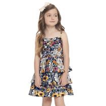 Vestido Infantil Em Sarja Estampado Flores Quimby