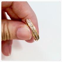 Anel De Ouro 18k Meia Aliança Pedra Zircônias Brilhantes