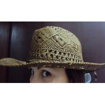 Chapéu Cowgirl Cowboy Country Marron Palha Imitando Renda