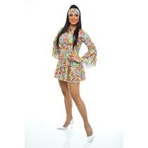 Fantasia Anos 70 Feminina,hippie,boogie Oogie,vestido