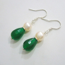 Brinco Perolas E Esmeraldas Naturais Verdadeiras - Prata 925