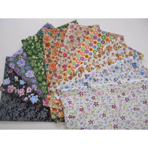 Kit Tecidos Algodão - Patchwork - Floral Médio - K10fm