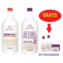 Escova Gloss Platinum Blond New Liss S/formol+kit De Brinde