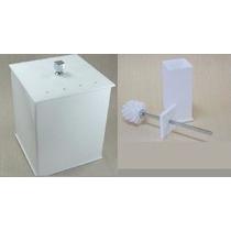 Escova Sanitária + Lixeira Em Acrílico Com Strass Branco