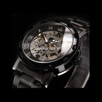 Relógio Masculino Esqueleto Aço Inoxidável Preto Mecânico