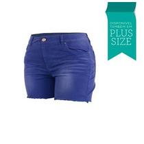 Shorts Sarja Colorido Jeans Lycra Feminino Fact - Plus Size