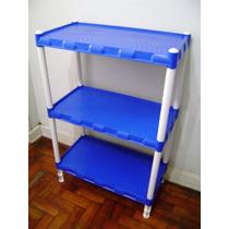 Prateleira Azul Plástica 3 Bandejas Modulares Produto Novo