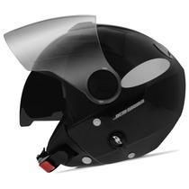 Capacete New Atomic Preto Aberto Pro Tork Solid Viseira Moto