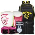 Kit Boxe Pretorian 14oz Branco E Pink + Mochila Maxi Top