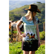 Vestido Country Estampado Cavalos Selaria Guiricema