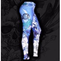 Calça Legging Printfull Skull Flower Cós Alto Tattoo Caveira