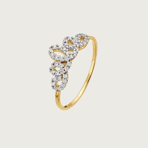 Anel Coroa Em Ouro 18k ( 750 ) Com Zircônias