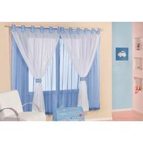 Cortina Para Quarto De Meninas Tecido Voal Leve Azul Bebe