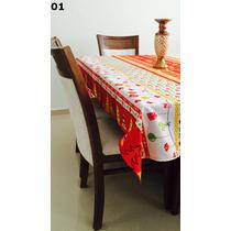 Toalha Mesa Natalina 145x160 +gratis 2 Capas De Travesseiros