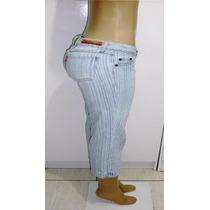 Calça Capri Jeans Feminina T.40 S/strech Marca Mannari S4