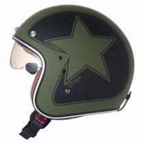 Capacete Zeus 380fa Aberto Vintage K56 Star Verde Fosco