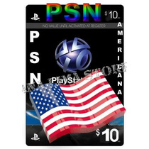Cartão Psn $10 Dolares Playstation Network - Ps3 Ps4 Psvita