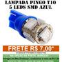 Pingo T10 5 Leds Smd 5050 Azul - Unidade