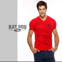 Camiseta Masculina Rat Boy Gola V - Vermelha