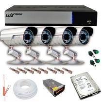 Kit Cftv Dvr 4 Canais + 4 Câmeras Ir 1000l Ccd S. + Hd 500gb