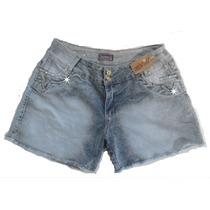Shorts Jeans Customizado Renda E Pérolas Tachas Tam 48