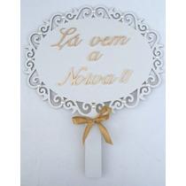 Placa Casamento Em Mdf Branco E Decorado Kit Com 2 Unidades