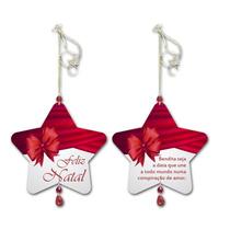 Móbile Estrela Feliz Natal Laço Vermelho Em Mdf - 14x13 Cm
