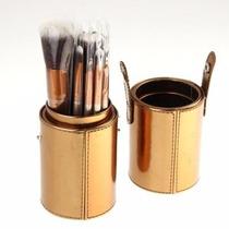 Kit 12 Pincéis De Maquiagem + Case Dourado + Frete Grátis