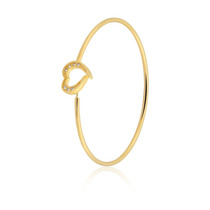 Pulseira Semijoia Bracelete Fio Coração 20cm Banho Ouro 18k