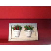 Quadrinho Decorativo Rústico Em Madeira E Pátina Branca