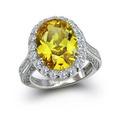 Bling Jewelry De Prata Oval 6ct Canary Cz Anel De Noivado
