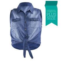 Camisa Regata Jeans Colete Laço Blusa Normal Plus Size 2522
