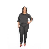 Calça Jeans Feminina Plus Tam. 50 Com Pedrarias