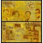 European Union 1.000 Euro Folheado A Ouro 24k Fantasia * Qj*