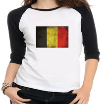 Camiseta Raglan Bandeira Bélgica - Feminina