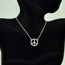 Colar Simbolo Da Paz Com Zirconia Folheado Á Prata Pura